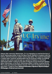 Students Instagram their photo of the Vietnam War Memorial in Westminster. They also capture their UC Irvine ID card as evidence of their visit to the site.
